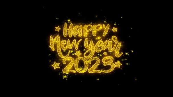 Boldog új évet 2023 kívánság Text Sparks részecskék fekete háttér.