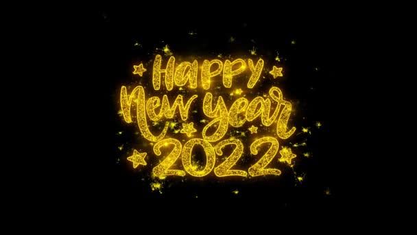 Boldog új évet 2022 kívánság Text Sparks részecskék fekete háttér.