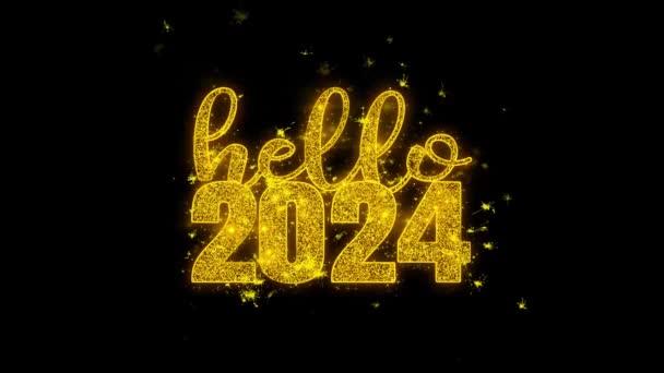 Hello 2024 nový rok si přeje text Sparks částice na černém pozadí.