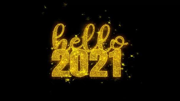 Hello 2021 nový rok si přeje text Sparks částice na černém pozadí.