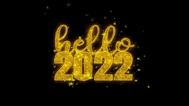 Hello 2022 nový rok si přeje text Sparks částice na černém pozadí.