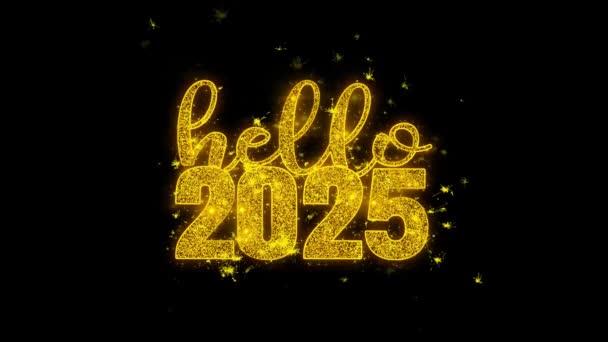 Hallo 2025 Hallo 2025 Neujahrswunsch Text Funken Partikel auf schwarzem Hintergrund.