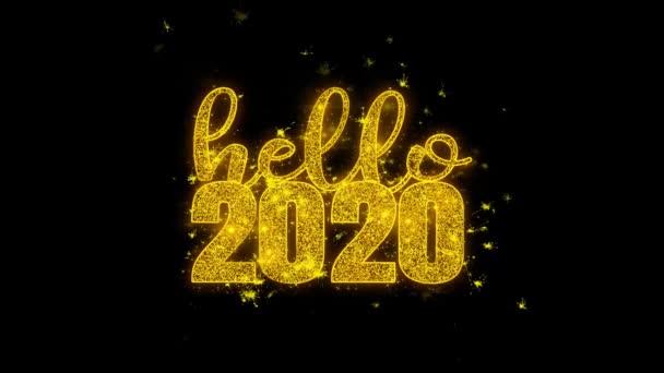Hello 2020 új évet kíván Text Sparks részecskék fekete háttér.
