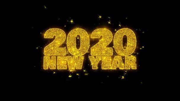 2020 új év kívánság szöveg Sparks részecskék fekete háttér.