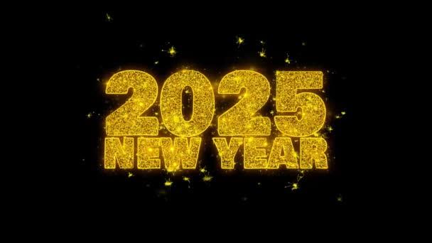 2025 új év kívánság szöveg Sparks részecskék fekete háttér.