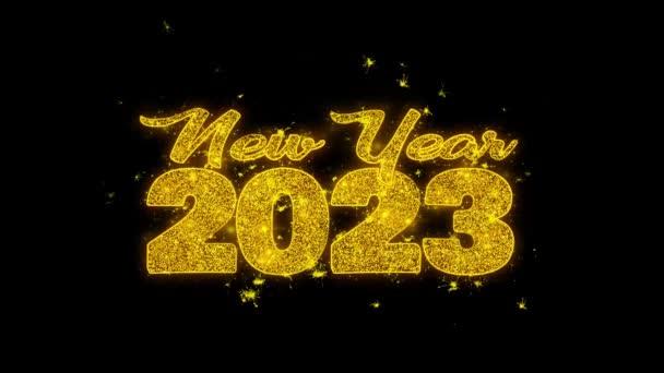 Új év 2023 kívánság szöveg Sparks részecskék fekete háttér.