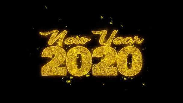 Új év 2020 kívánság szöveg Sparks részecskék fekete háttér.