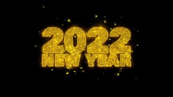 2022 új év kívánság szöveg Sparks részecskék fekete háttér.