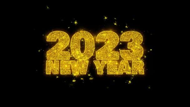 2023 új év Sky kíván Text Sparks részecskék fekete háttér.