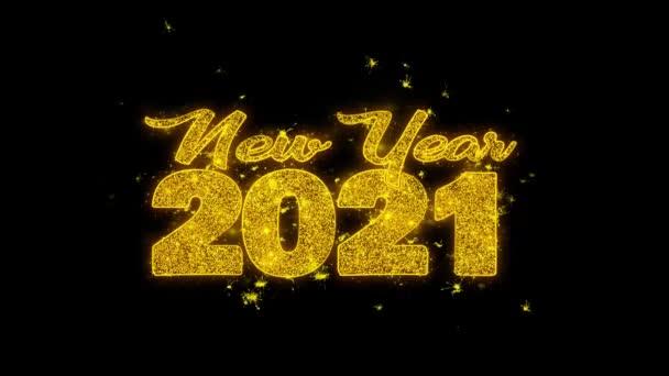 Új év 2021 kívánság szöveg Sparks részecskék fekete háttér.