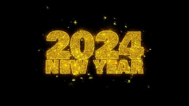 2024 új év kívánság szöveg Sparks részecskék fekete háttér.