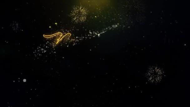 Új év 2020 Text Wish a Gold részecskék tűzijáték Display.
