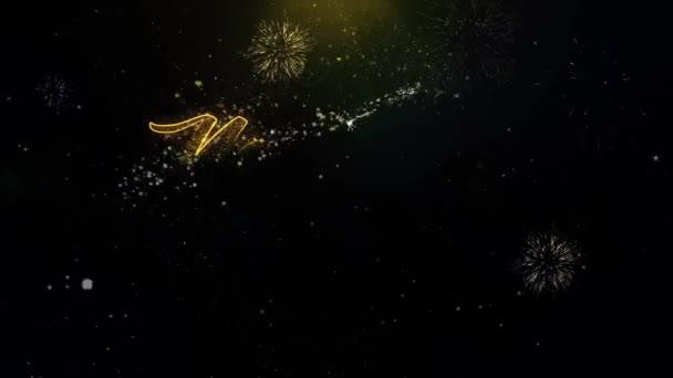 Új év 2023 Text Wish a Gold részecskék tűzijáték Display.