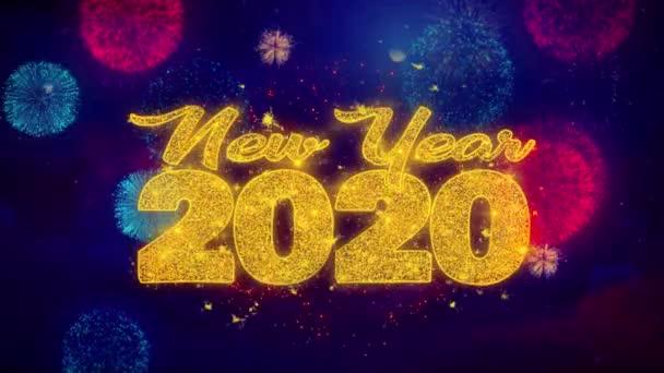 Nový rok 2020 přeje si text na barevných Přezimových částicích.
