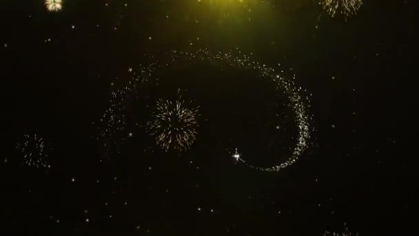 Hallo 2023 Neujahr Text Wunsch auf Feuerwerk Display Explosionspartikel.