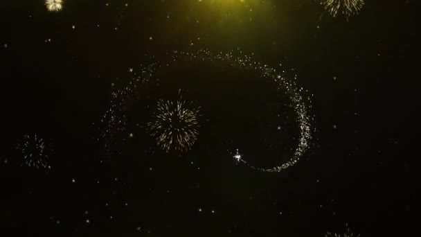 Új év 2023 szöveg kíván tűzijáték Display robbanás részecskék.