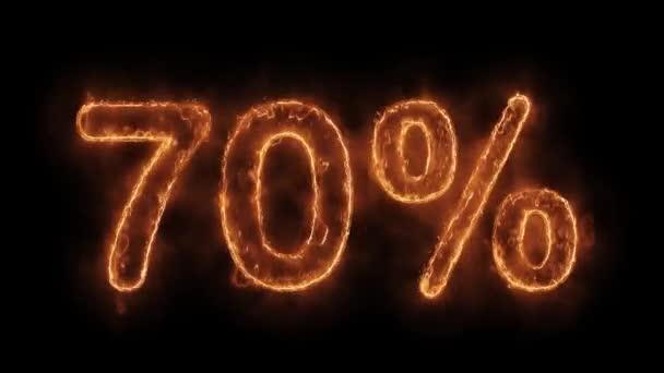 70 Prozent weg vom Wort heiß animierte, realistische Feuerflammenschleife.