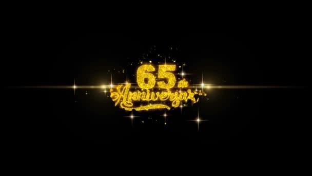 Goldener Text zum 65. Geburtstag blinkt mit goldenem Feuerwerk