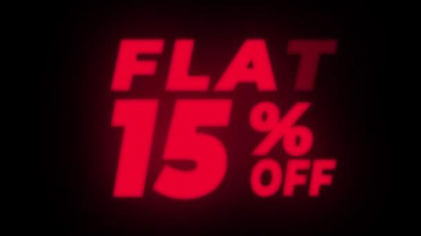 Flat 15 százalékos off Text Flickering Display promóciós hurok.