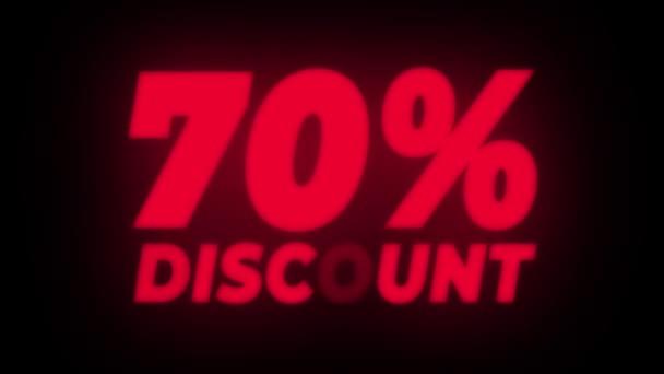 70 Prozent Rabatt Text flackernde Anzeige Aktionsschleife.