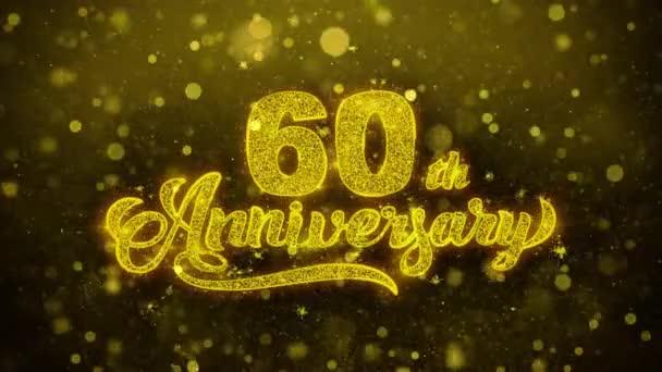 60. glückliches Jubiläum goldener Text blinkt Teilchen mit goldenem Feuerwerk