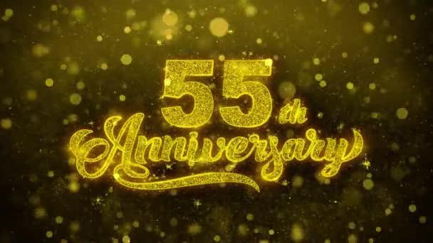55. glückliches Jubiläum goldener Text blinkt Teilchen mit goldenem Feuerwerk