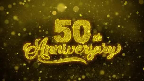 50. glückliches Jubiläum goldener Text blinkt Teilchen mit goldenem Feuerwerk