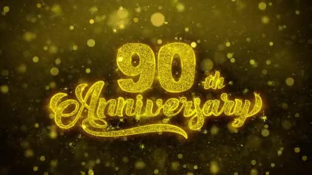 90tý šťastný výročí zlatý text blikající částice se zlatou displejem Fireworks