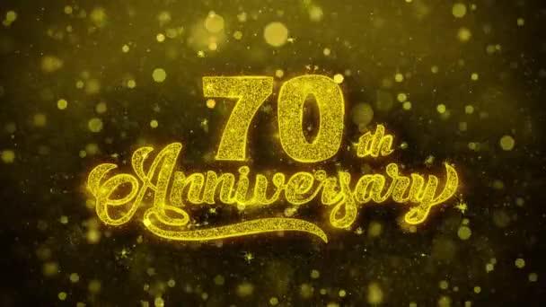 70. glückliches Jubiläum goldener Text blinkt Teilchen mit goldenem Feuerwerk
