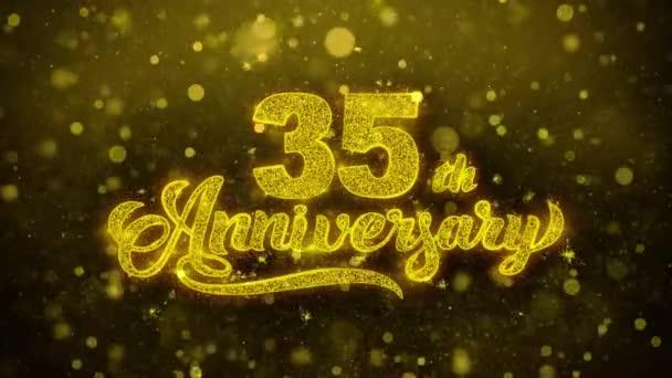 35th šťastný výročí zlatý text blikající částice se zlatou displejem Fireworks