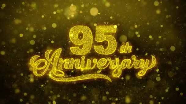 95 šťastný výročí zlatý text blikající částice se zlatou displejem Fireworks