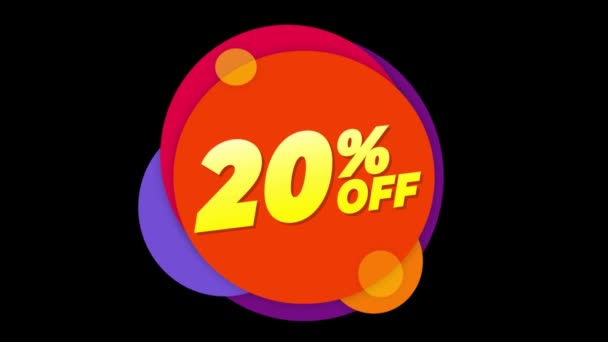 20 Percent Off Text Flat Sticker Colorful Popup Animation.
