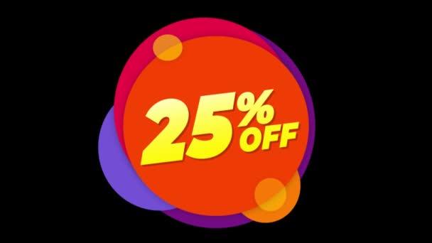 25 százalék off Text lakás matrica színes popup animáció.