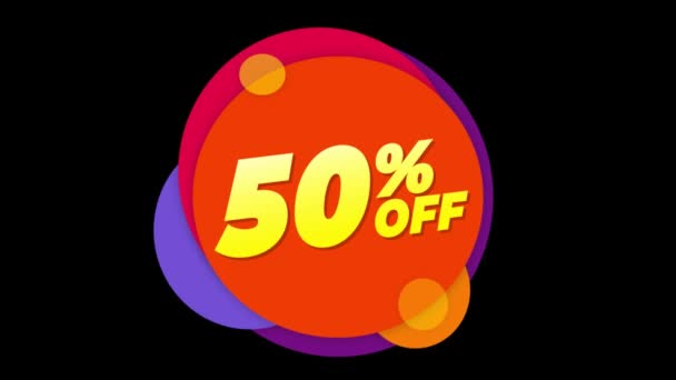 50 Percent Off Text Flat Sticker Colorful Popup Animation.