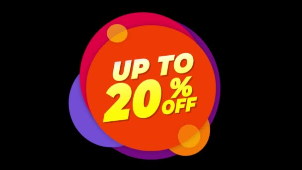 Up To 20 Percent Off Text Flat Sticker Colorful Popup Animation.