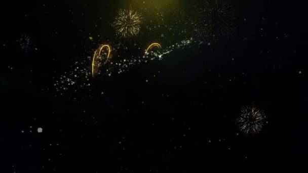 Hello 2021 új év szöveg Wish Gold részecskék tűzijáték Display.
