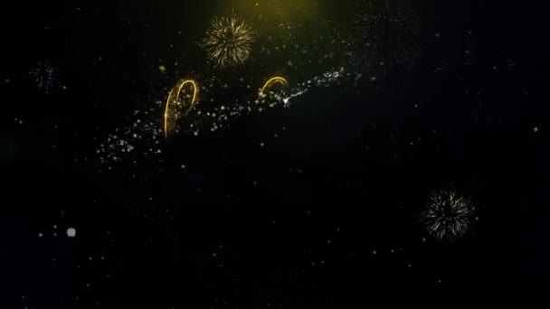 Hello 2023 New Year Text Wish on Gold Particles Fireworks Display.