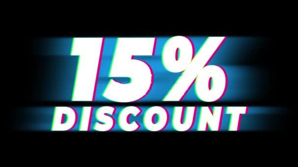 15 százalék kedvezmény szöveg Vintage glitch hatás Promotion .