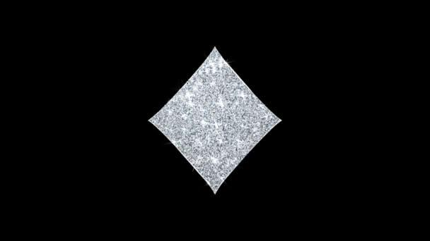 Diamond kártya suit ikon ragyogó Glitter loop villogó részecskék .