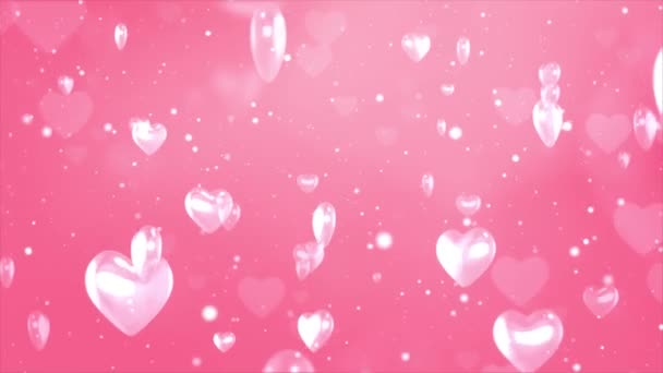 Pink pattern with White confetti, stars and hearts 4K 3D loop background .