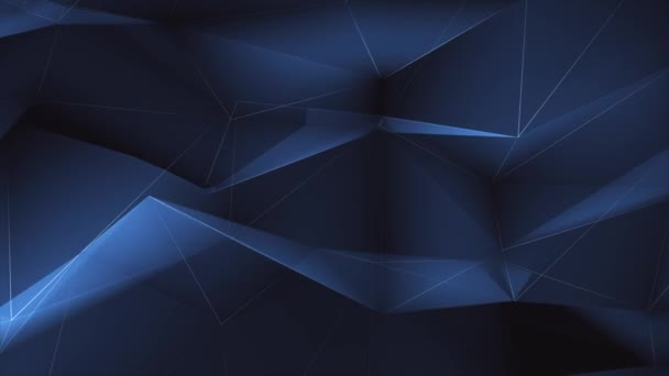 3D Abstract Plexus black and Blue geometrical shapes Triangles Lines And Dots loop animation.