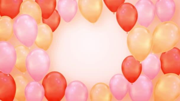 Krásné růžové a červené létající balónky smyčka animace Alpha Channel. 4k