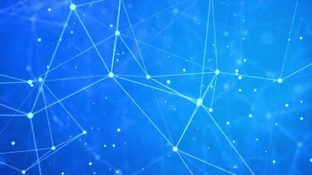 3D vykreslování abstraktních síťových připojení a teček na pozadí tmavé smyčky.