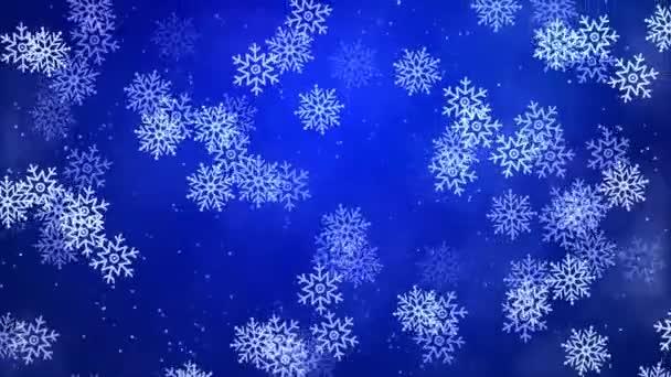 Schneeflocken fallen über den klaren blauen Schleifenhintergrund. glitzert erstaunlich bei sonnigem Wetter.