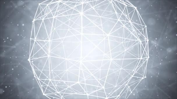 Technologie drahtloses Netzwerk Globus Kommunikationssystem mit Weltkarte Loop.