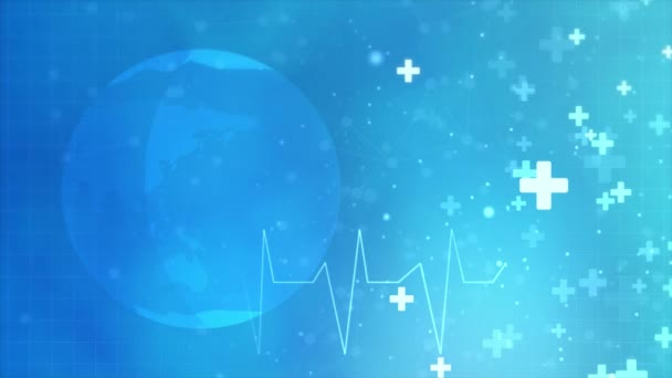Abstract medical Loop background animation with flat icons and symbols.