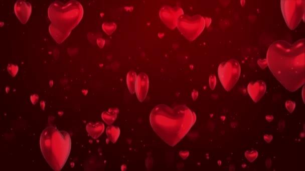 3d 4K padající srdce částice světlo smyčka Srdce pozadí Valentýna, svatba nebo láska