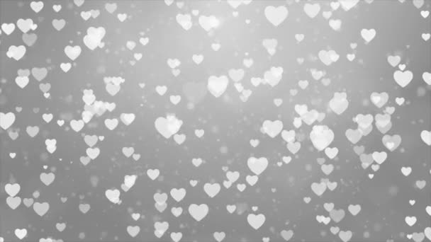 Abstract White Moving Flying Hearts and Particles Valentines day Loop background.