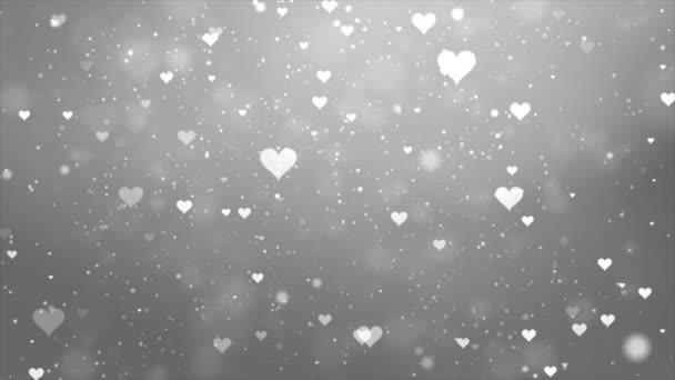 Srdeční pozadí s padajícími srdci částicové světlo smyčka pro valentýn, svatba nebo láska