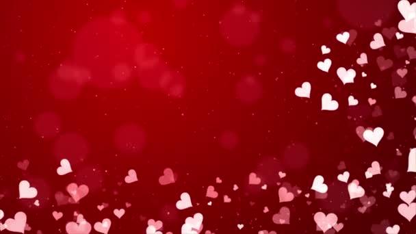 Homályos sima elvont piros szív részecskék csillogás zökkenőmentes hurok háttér.